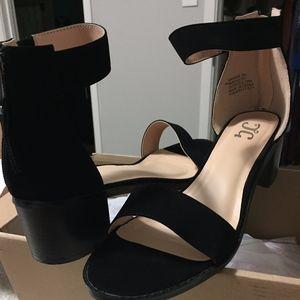 black ankle strap block heels